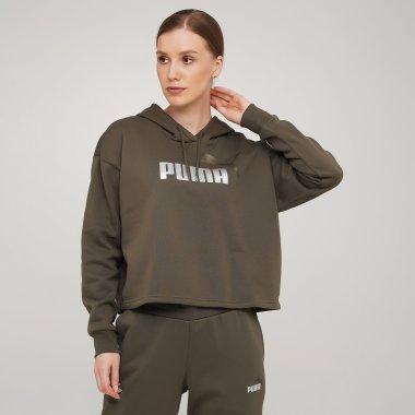 Кофты puma Ess+ Cropped Metallic Logo Hoodie Fl - 140601, фото 1 - интернет-магазин MEGASPORT